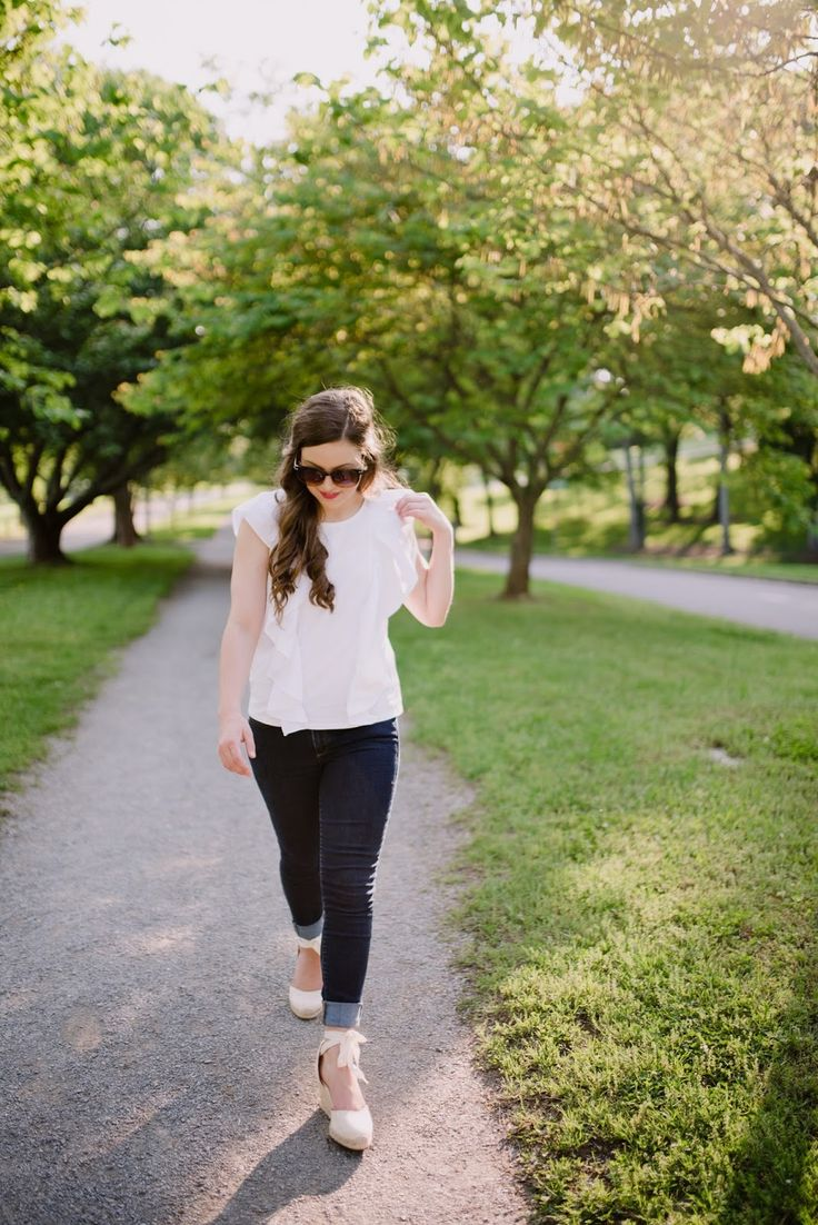 white ruffle blouse and espadrilles