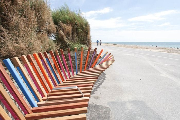 The longest bench in Britain and soon to the longest one in the world was opened to the the public in Littlehampton, West Sussex on the 30th July 2010.