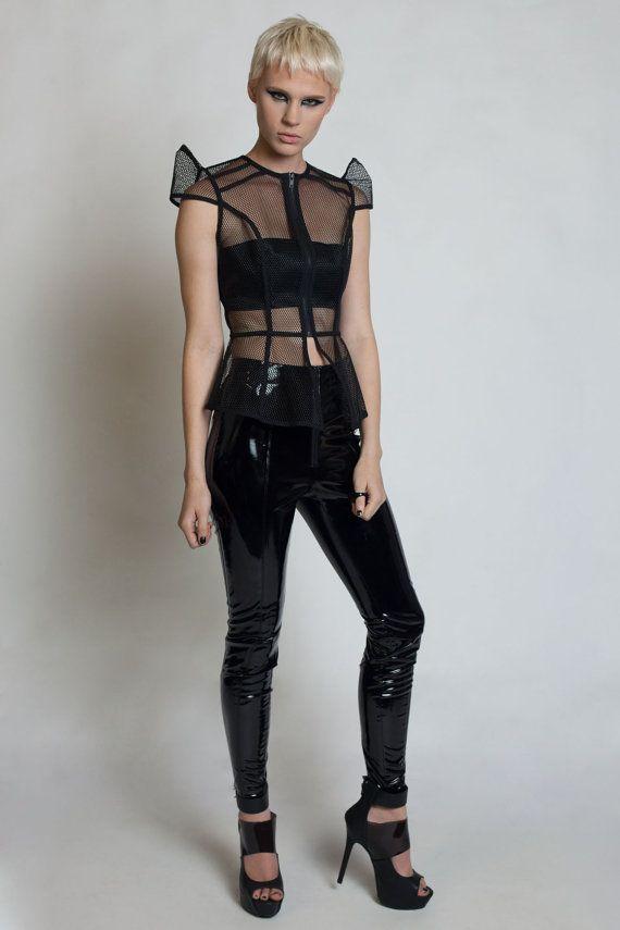 INTREPID TOP - Black Mesh - Cybergoth - PVC - Lady Gaga - Cyberpunk - Space Age - Futuristic - Robot Shirt - Cyberpunk - Structured - Robot