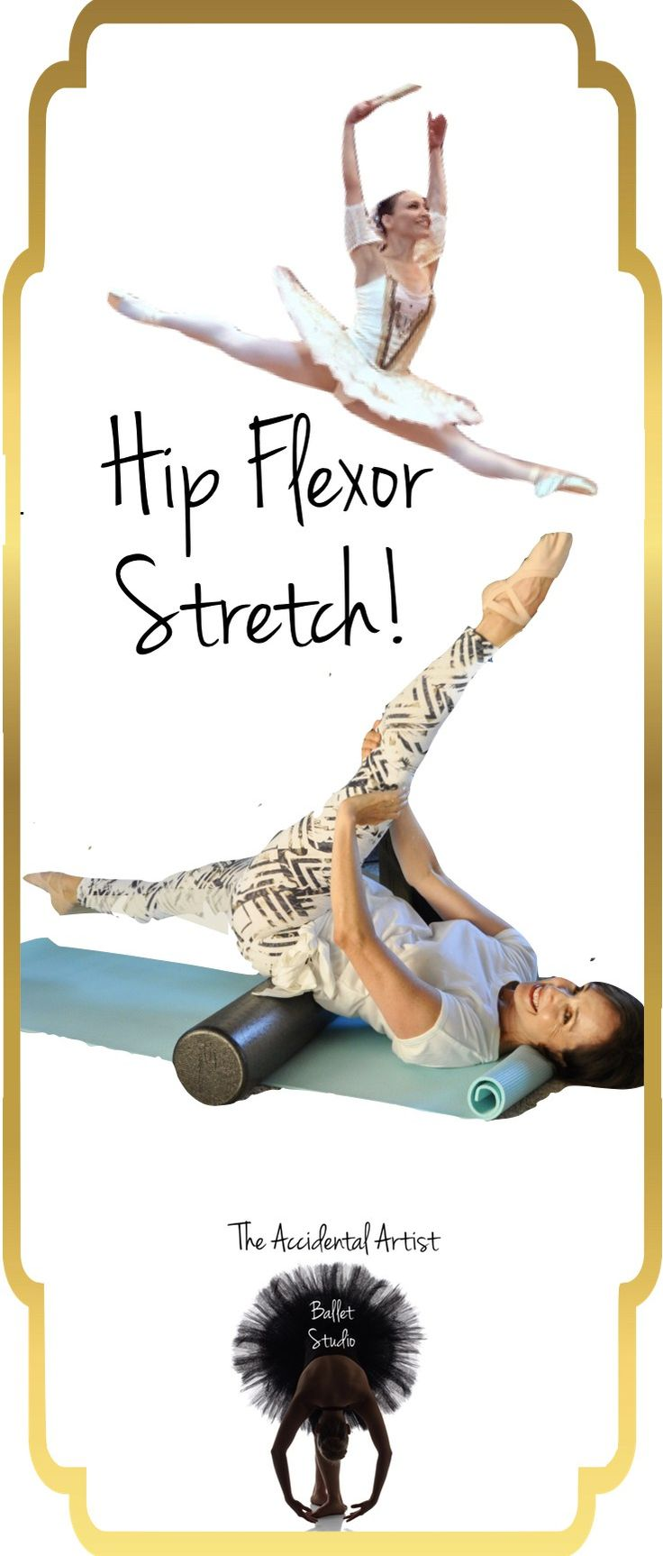 Just in case you need some motivation, here is a hip flexor stretch that I made up for myself. Sometimes I get tired on the old lunge stretch for the hip flexor and found this is really great. You can control the amount of stretch by pulling your upper leg to your chest. It will act as the lever for your stretch.To increase the effectiveness of the stretch, engage your abdominal muscles to help control the alignment of your pelvis. #ballet #stretching