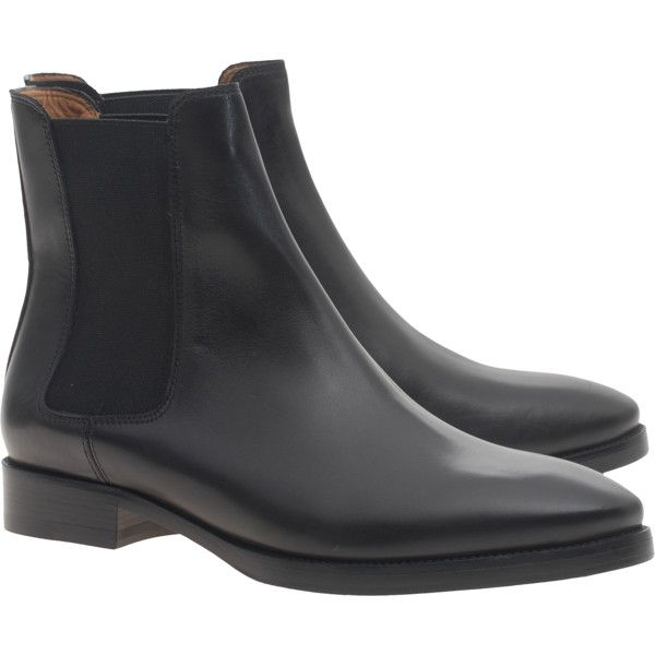 ACNE STUDIOS Bess Black // Leather chelsea boots ($535) ❤ liked on Polyvore featuring shoes, boots, ankle booties, beatle boots, black boots, chunky heel boots, black booties and leather chelsea boots