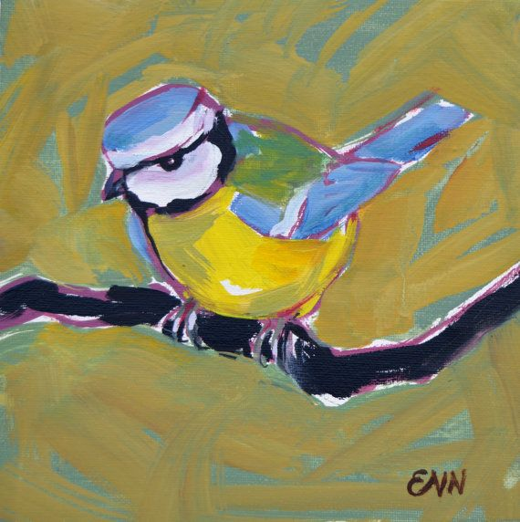 Original oil bird painting / Blue Titmouse / by NielsenDenmark