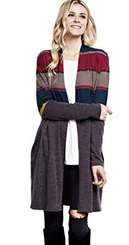 CHAIRAY Mittoshop Women s Multi-Colored Striped Long Open Knit Cardigan  with Pockets e8eae3701