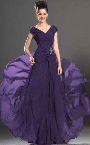 V-Ausschnitt Sweep Zug Brautmutterkleid/ Abendkleid mit Kristall Blumen Pin,Um mehr zu erfahren, besuchen Sie bitte http://www.emodeshop.de/brautmutterkleider-d5