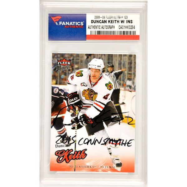 Duncan Keith Chicago Blackhawks Fanatics Authentic Autographed 2008-09 Fleer Ultra #123 Card with 2015 Conn Smythe Inscription - $179.99