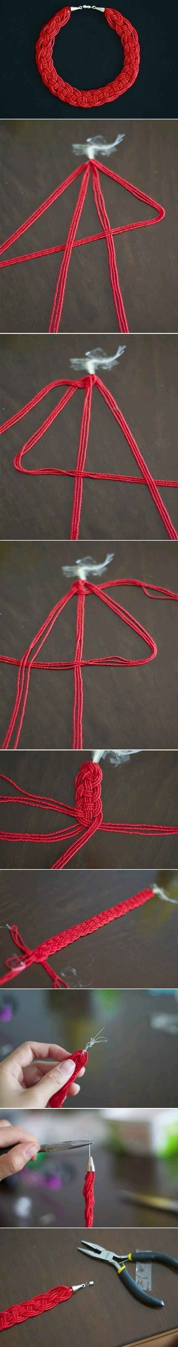 Four Strand Braid | 24 Super Easy DIY Bracelets You could also do this with yarn…