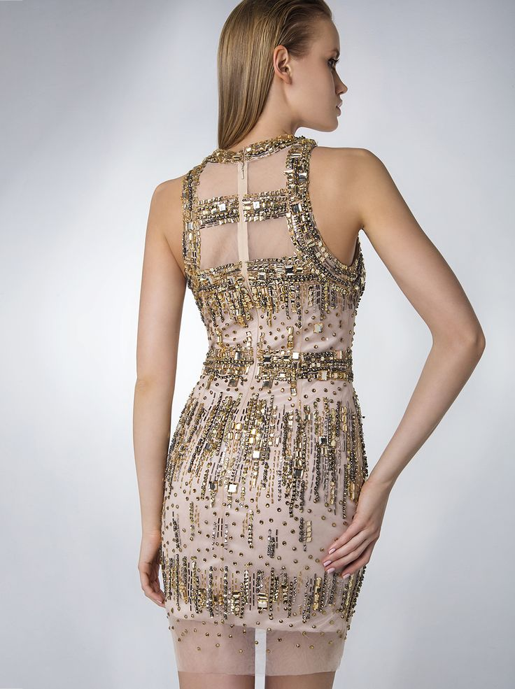 Evening short fully beaded dress. http://www.mikael.gr/en/new-collection/80948.html
