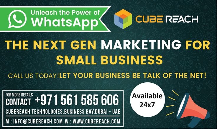 Unleash the Power of WhatsApp for Marketing  WhatsApp marketing is a goldmine for Small Business. What makes WhatsApp a great tool for marketing your product or services?  Affordable pricing simple &effective Texts, Pics, Videos, Voice Broadcasting …and much more!  CALL US TODAY 0561 585 606 (Available on WhatsApp and call)   Available 24x7 (Feel free to call or text any time)   Cube Reach Technologies  www.cubereach.com   #whatsappmarketing #CubeReach #whatsapp