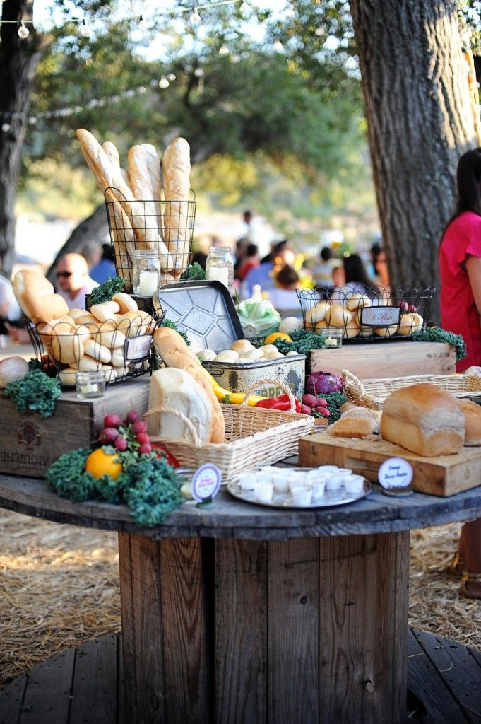 Farmer's Market Wedding at Parker Ranch  Artisan food stations  Assortment of handmade breads, rolls, flavored butters and homemade jams #wedding #partyfood #bread