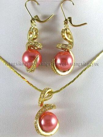 12 мм розовые розы юг морские раковины жемчужные серьги и ожерелья комплект 18  шт> ювелирные изделия кварцевый кристалл женщины свадьба