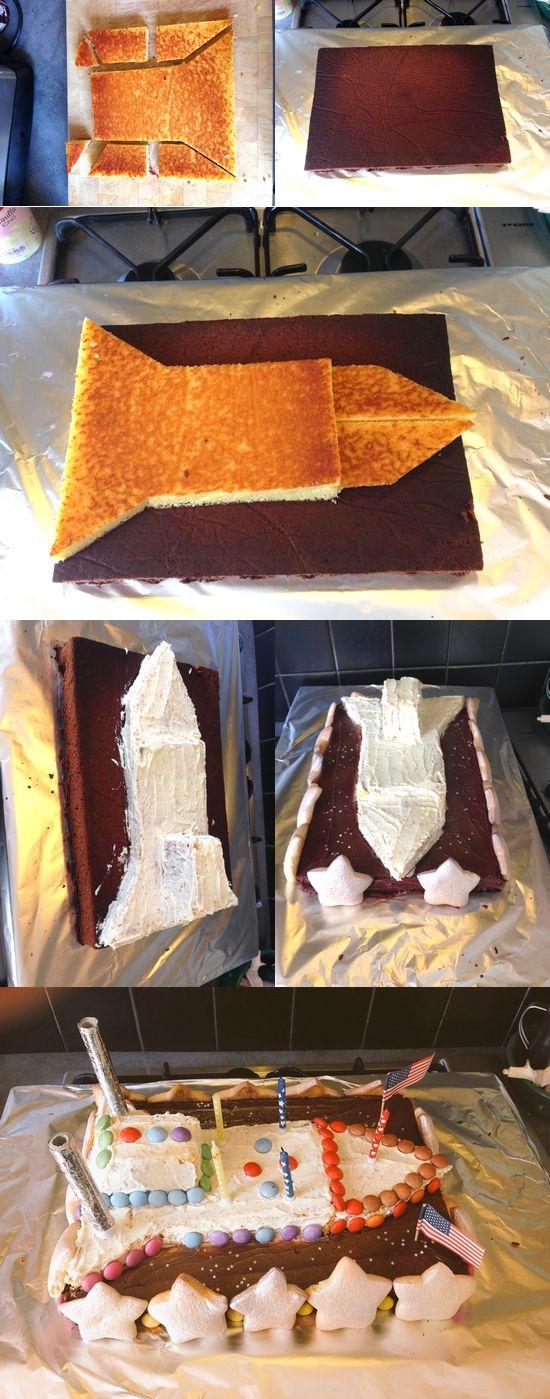 Gâteau fusée - anniversaire de l'espace - space rocket cake - outer space birthday party