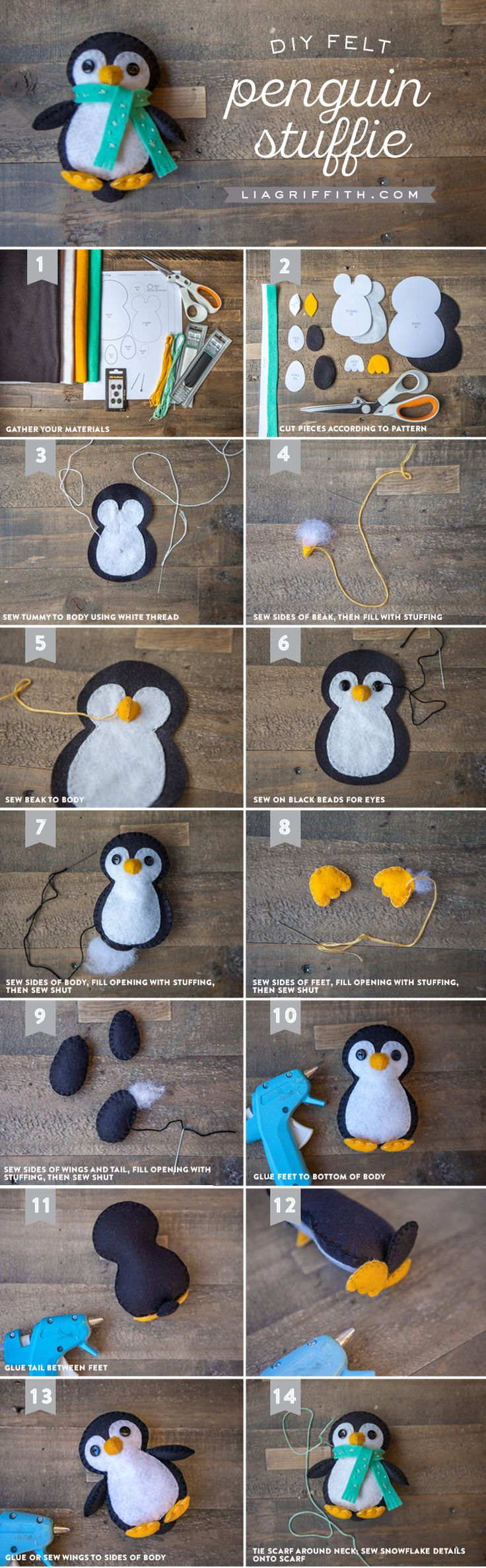 Make your own gorgeous penguin felt stuffie with this printable template and…