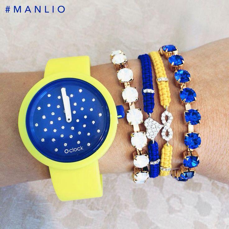 Blue Armparty! #manlioboutique Per spedizioni WhatsApp 329.0010906 #oclock #cristal #blue #bracelet #armcandy