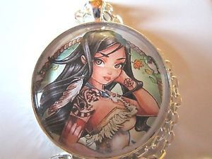 Princess-Fairy-Pocahontas-tattoo-Indian-glass-pendant-necklace-jewelry-fantasy