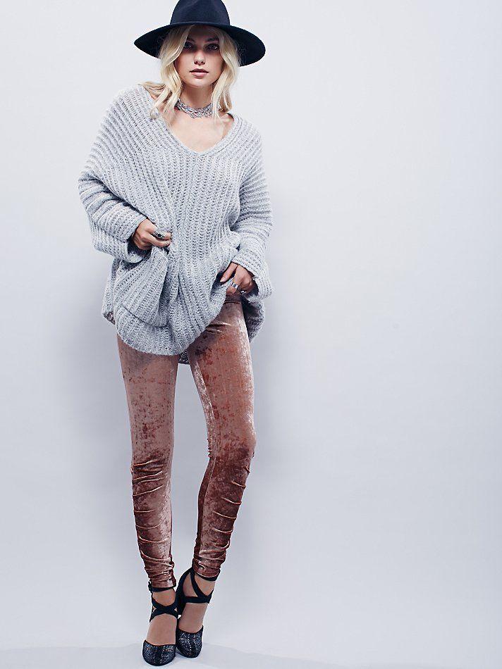 Velvet Stacked Legging | Super luxe crushed velvet leggings featuring ruche detailing on the bottom.  Elastic waistband for an easy, comfortable fit.