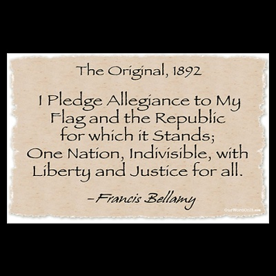 """The original pledge of Allegiance.....Did you know the present version to this was written in 1956?  It was in the era of Sen. Joe McCarthy and his """"witch hunts"""".  Learn  about this moment in our history. We can learn from it."""