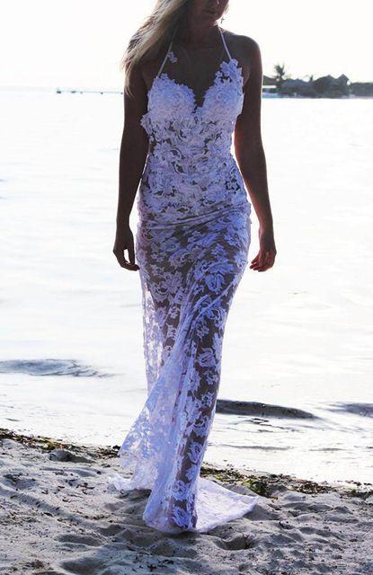 2015 Sexy Design Neckholder Backless Weiß Spitze Brautkleid Brautkleider nach Maß Größe 2 4 6 8 10 12 14 16 18 + + W502