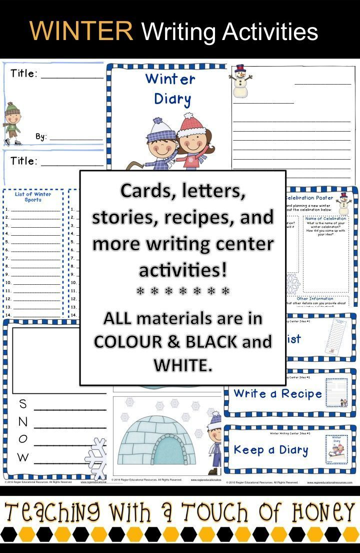Are you looking for writing activities to use during the winter season? The Winter Writing Center contains 12 writing activities and other support materials. Included in this package of materials are templates for: books, cards, diaries, fact books, journals, letters, lists, poems, posters, recipes, and stories. In addition, a set of posters, activity cards, and a writing tic-tac-toe board are included to provide the different writing options. Word wall cards, a word bank