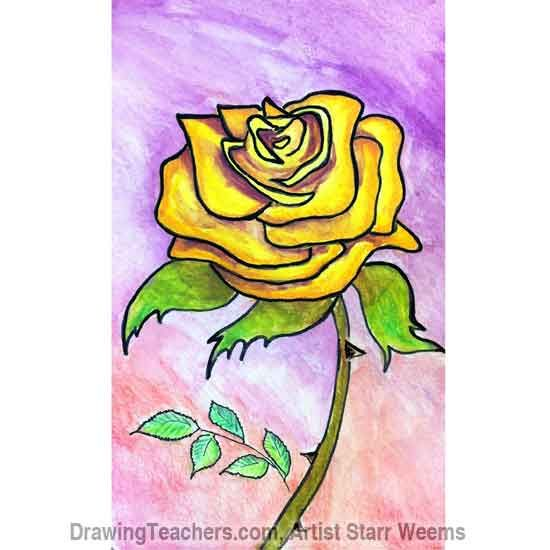 draw roses rose yellow drawings flower flowers paint learn drawing marker pencil drawingteachers water outline words