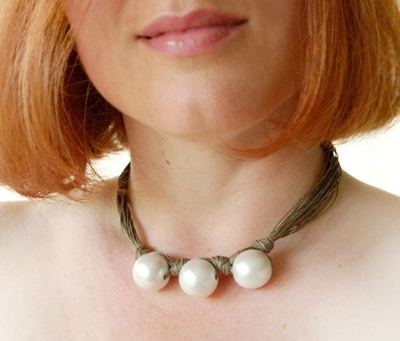 White Pearls Natural Linen Necklace White by BeadedCoffeeTree, $24.50