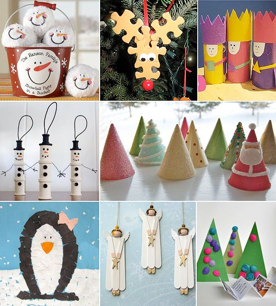 Christmas Craft Corner - MollyMoo - crafts for kids and their parents- I love the puzzle-piece reindeer and the popsicle stick angels!