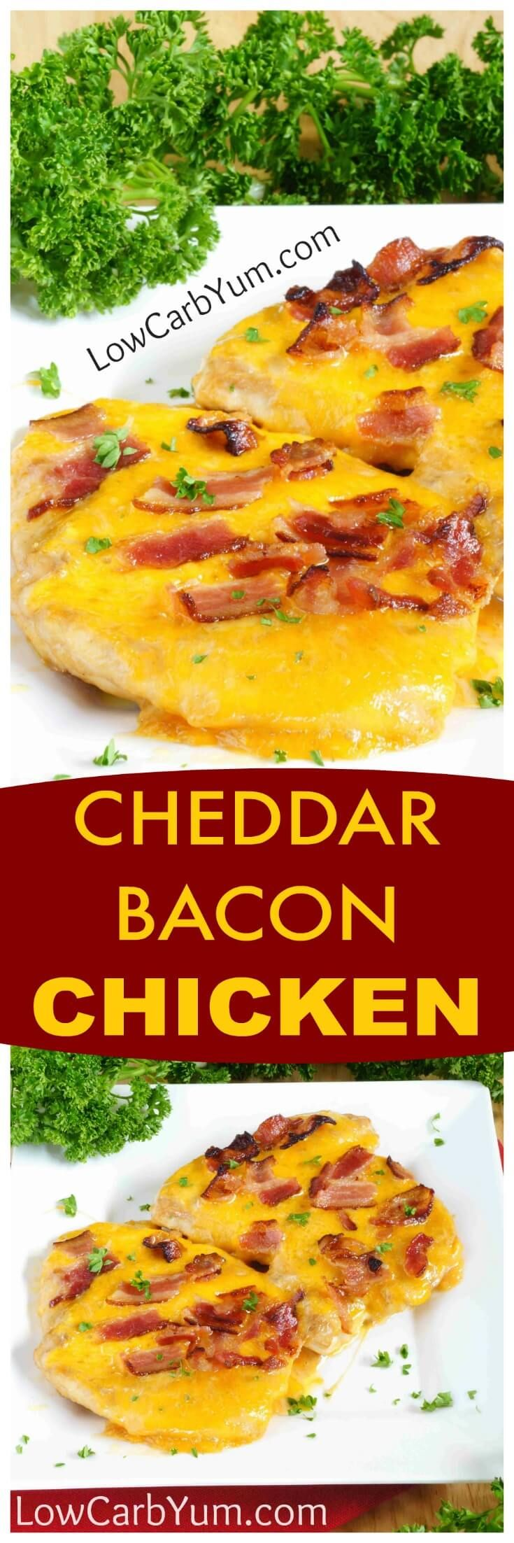 An easy cheddar chicken bacon cheese recipe turns plain chicken into something special. A little teriyaki and ranch dressing enhances the flavor. | LowCarbYum.com