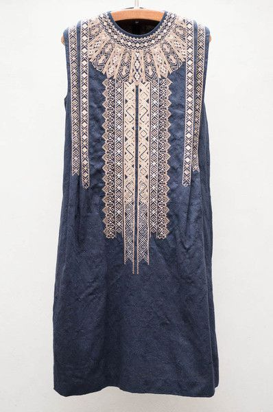Gary Graham Navy Embroidered Jacquard Dress by heist