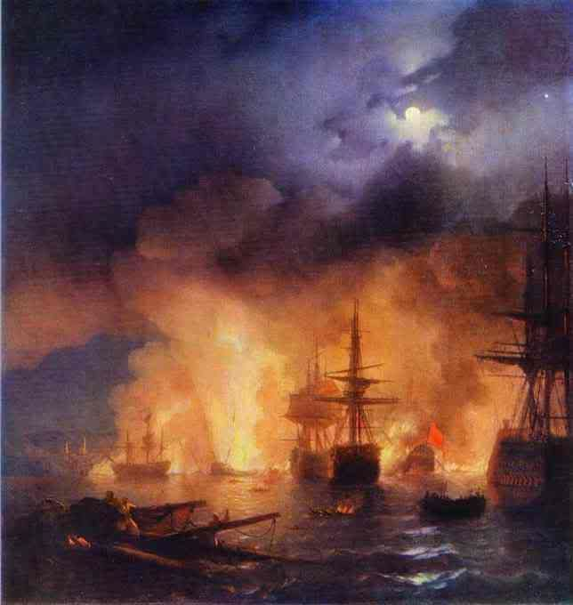 Bătălia de Chesme. 1848. Ulei pe panza. Galeria Aivazovsky Art, Feodosia, Ucraina.  - See more at: http://s141.photobucket.com/user/opilconst/media/TheBattleofChesme1848OiloncanvasThe.jpg.html?sort=3=12#sthash.P4JVFZT6.dpufopilconst. Find other Seashore. 1840. Oil On Can...