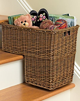 Stair basket. This house needs this or something like it. Tired of the stuff that sits on our steps!