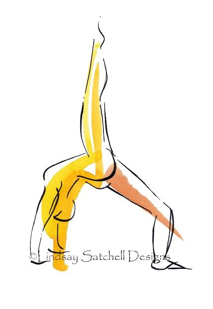 yoga art watercolor print - Wheel Pose- by Lindsay Satchell