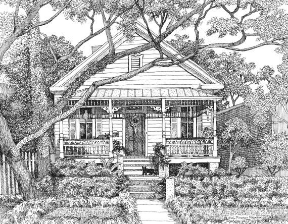 House Portrait Custom Pen and Ink Drawing by JudiNiemannArtworks