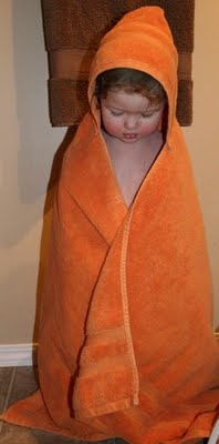 "Easy hooded bath towel - Made this right after I googled ""how to thread a sewing machine"" :)"