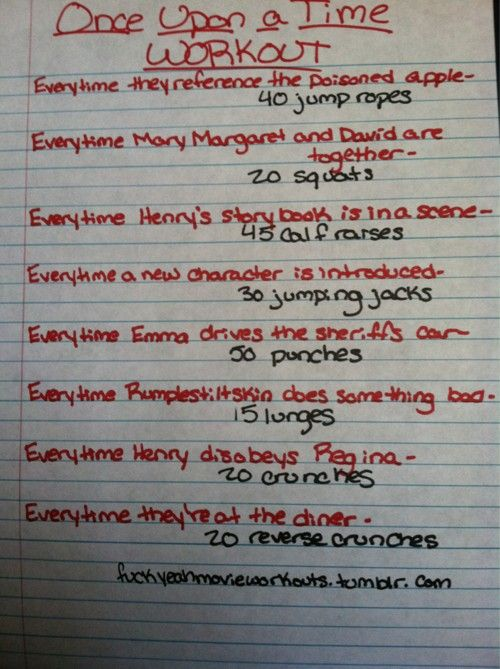 Once Upon a Time (tv show) work out! *I should do this every Sunday at 8 on ABC* (You see what I did there. PLUG!)