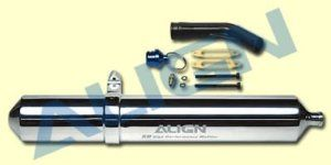 Align 50 High Performance Muffler HE50H08 by Align. $94.71. Apply to 50 size helicopters, according to the strength character of 50 engine to design, features the highest air exhaust volume on the market. Great design and test to three spaces: expansion chamber, accelerated section, silencer chamber, high efficiency and the quick respond of medium speed and high speed, great for 3D flying. Size:41.2 x 270 x 70.5mm. Align 50 High Performance Muffler HE50H08 NEW