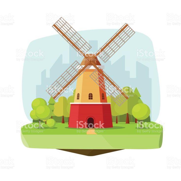Mill farm on nature landscape vector illustration, flat carton retro dutch windmill near forest on city background royalty-free stock vector art