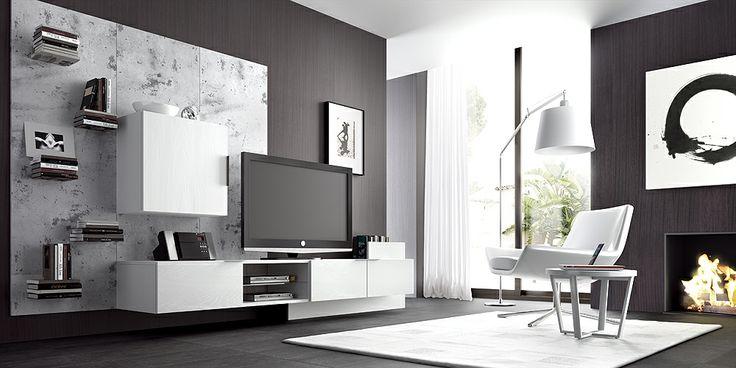 Salón moderno. Líneas contemporáneas. Muebles
