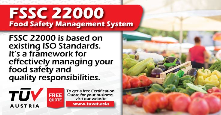 The FSSC 22000: Food Safety Management System. For further queries how we can assist you: tuvat.asia/get-a-quote, or call Pakistan: +92 (42) 111-284-284   Bangladesh +880 (2) 8836404   Sri Lanka +94 (11) 2301056 #FSSC22000 #certification #ISO #safety #TUV #job #certification #Pakistan #Bangladesh #Srilanka