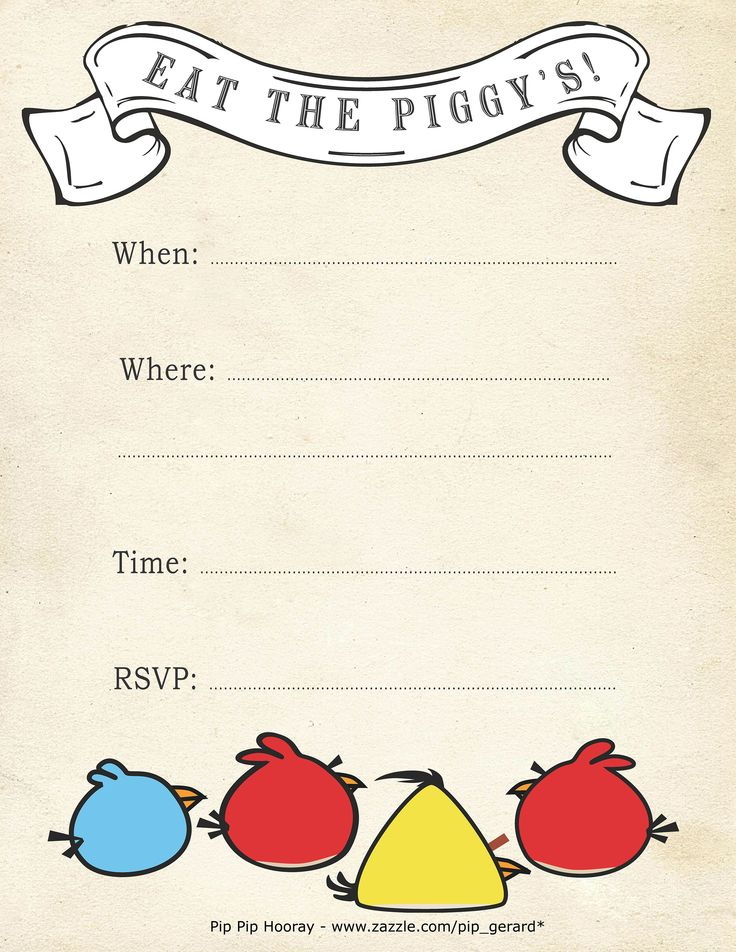 Best ANGRY BIRDS THEME IDEAS Images On Pinterest Bird Party - Party invitation template: angry birds birthday party invitation template free