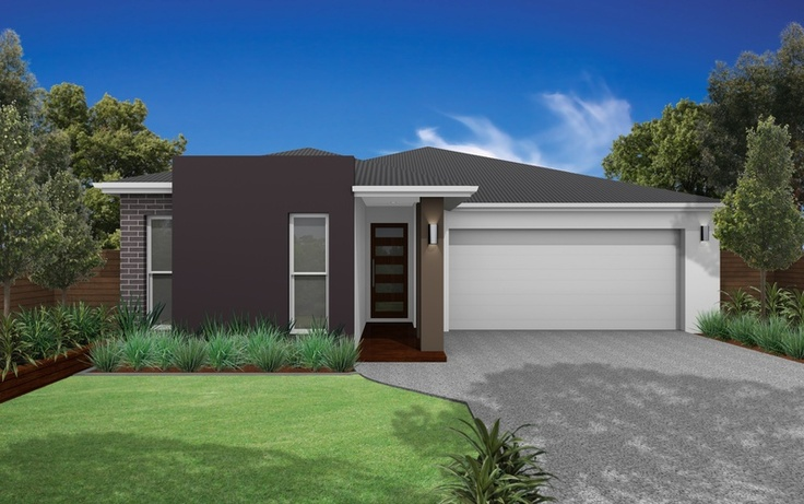 Roof Colorbond Woodland Grey - Windows White - Garage Door Colorbond Surfmist - Fascia & Gutter Colorbond Surfmist - Feature Render Colorbond Loft - Render White - Timber front door and merbau decking - Bricks Boral Black Beauty