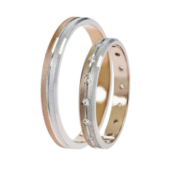 Βέρες γάμου Stergiadis δίχρωμο  χρυσό Κ14 SAT-2 WR-497