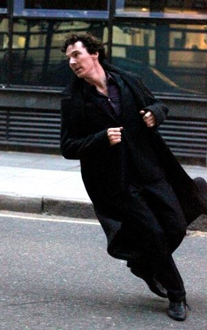 And Sherlock demonstrates a 45 degree angle