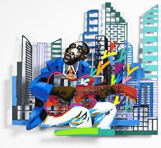 """Guitarist #Jazz - 2004, 35"""" x 31"""" in, Wall Sculpture By #DavidGerstein - #HorizonArts #Miami #ArtGallery #Wynwood #Urban #Jazzandthecity http://www.davidgerstein.us/portfolio/guitarist/"""
