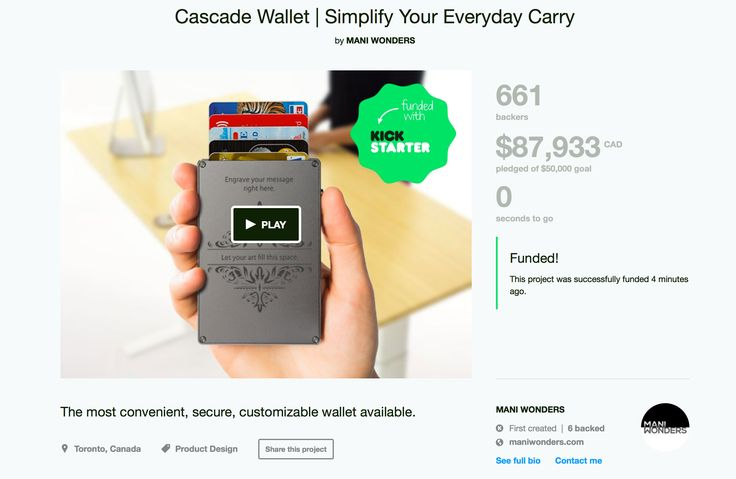 The Cascade Wallet campaign has successfully funded on Kickstarter. Thank you to all backers and supporters! #CascadeWallet #kickstarter http://kck.st/1wtB4BP