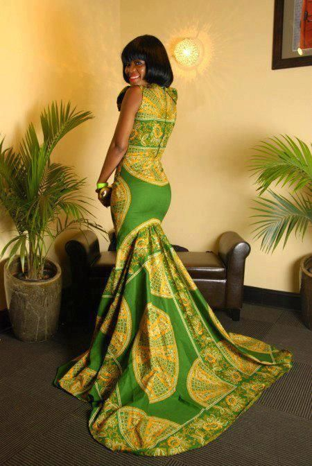 I love this full length Ankara dress with train.....absolutely beautiful!!