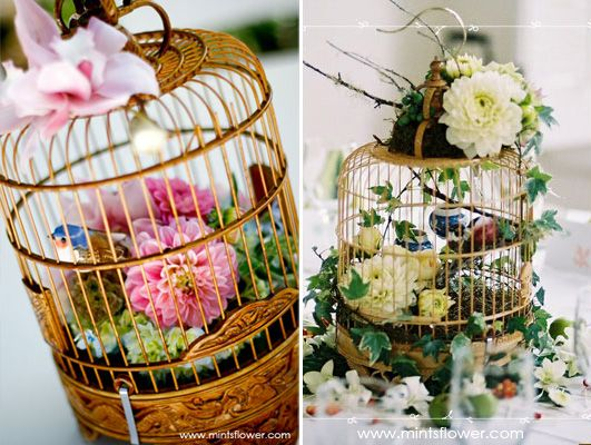 Birdcages. Spraypaint them gold, put some moss on the bottom, and tuck a few flowers in them. Gorgeous! Love these via Mints Design.