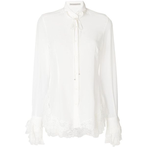 Ermanno Scervino lace frill blouse (62.510 UYU) ❤ liked on Polyvore featuring tops, blouses, white, flutter-sleeve tops, white lace top, lace top, lace ruffle blouse and white ruffle top