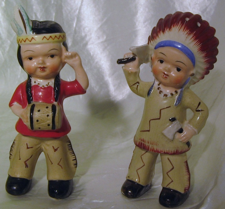 1950's Vintage Boy & Girl Chief and Squaw Indian Salt & Pepper Shakers Japan | eBay