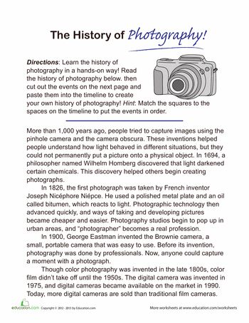 Worksheets: History of Photography Timeline