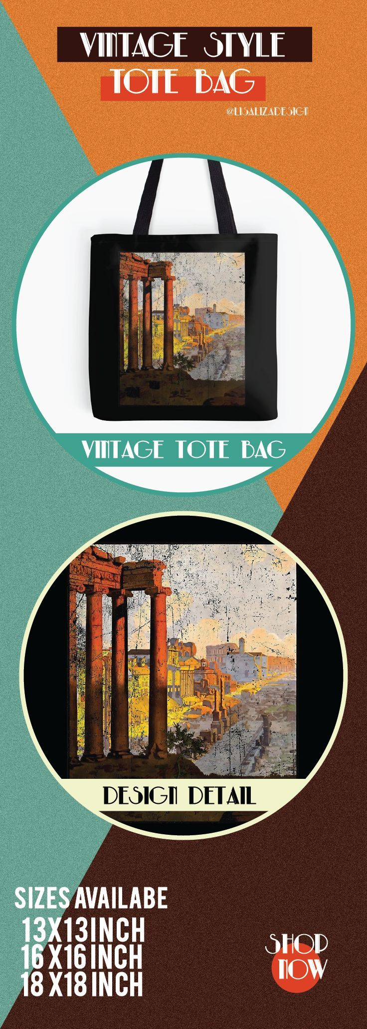 Vintage Travel Poster, Aged and Weathered - Rome.  ToteBags  A collection design inspired by vintage travel and advertisements posters  from the late 19th century printed on durable tote bags. 3 Sizes available.  Excellent gift ideas for vintage lovers and everyone. #vintage #hugs #holidaygift #oldies #homedecor #retro #travelposter #totebag #redbubble #teepublic #lisalizadesign #vintageposter #oldies