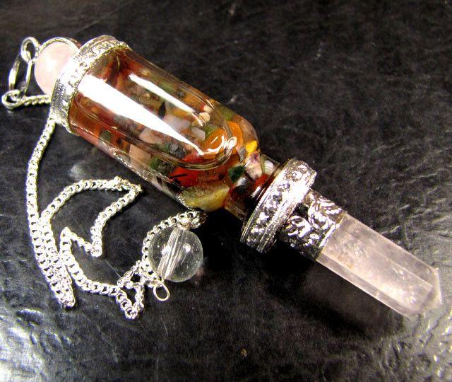 floating rose quartz gemstone pendulum rt62